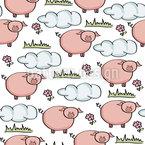 Grasendes Schweinchen Nahtloses Vektor Muster