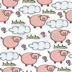 Grazing Piggy Seamless Vector Pattern