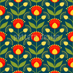Blooming Retro Flowers Seamless Vector Pattern Design