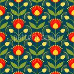 Blooming Retro Flowers Design Pattern