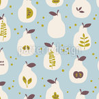 Decorated Pears Vector Ornament