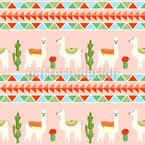 Llama In The Desert Seamless Vector Pattern