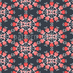 Retro Flower Circle Seamless Vector Pattern Design