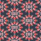 Círculo de flores retro Estampado Vectorial Sin Costura