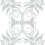 Peacock Feather Butterfly Seamless Vector Pattern Design
