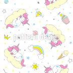 Fluffy Unicorn Seamless Vector Pattern Design