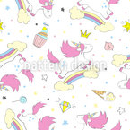 Jumping Unicorn Seamless Vector Pattern Design
