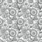 Monochrome Doodle Blumen Musterdesign
