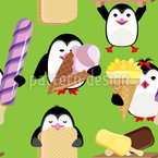 Penguins With Ice Cream Seamless Vector Pattern Design
