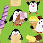 Pinguine Mit Eiscreme Nahtloses Vektormuster