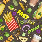 Street Food Seamless Vector Pattern Design