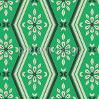 ジグザグのラインと花の要素 シームレスなベクトルパターン設計