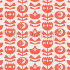 Flowers In Retro Scandinavian Style Pattern Design