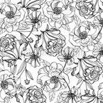 Handgezeichnete Blumengarten Nahtloses Vektormuster
