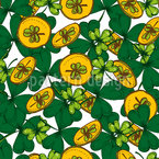 Shamrock And Gold Coins Seamless Pattern