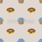 Box Of Donuts And Cupcakes Vector Pattern