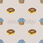 ドーナツとカップケーキの箱 シームレスなベクトルパターン設計