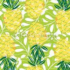 Reife Ananas Mit Palmblättern Rapport