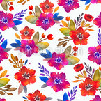 Watercolor Bouquets Vector Pattern