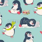 Pinguin Hat Spaß Nahtloses Vektormuster