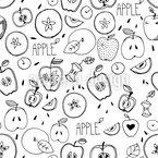 Skizze Eines Apfels Nahtloses Muster