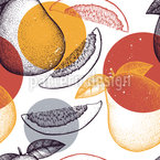 Pomelo Harvest Seamless Vector Pattern Design