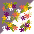 Flowers On Lilaq Seamless Vector Pattern Design