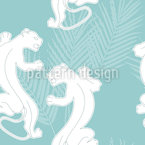 Panther On The Hunt Seamless Vector Pattern