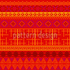 Embroidered African Motifs Seamless Vector Pattern Design