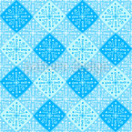 Decorated Snowflake Checks Seamless Vector Pattern Design