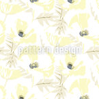 Snowy Poppy Seamless Vector Pattern Design