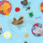 Dog Float Seamless Vector Pattern Design
