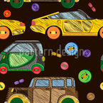 Aufgestickte Autos Nahtloses Vektormuster