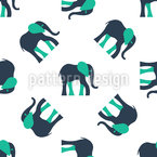 Stylized Elephants Seamless Vector Pattern