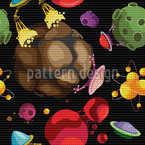 Fantastic Planets And Alien Spaceships Repeating Pattern