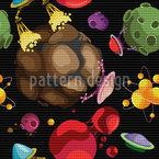 Planetas Fantásticos E Naves Espaciais Alienígenas Design de padrão vetorial sem costura