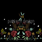 Embroidered Roses And Dragonfly Design Pattern