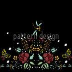Gestickte Rosen und Libelle Designmuster
