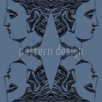 Antique Head Seamless Vector Pattern Design