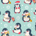 Penguins In Every Day Situations Vector Pattern