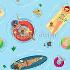 プールで日光浴 シームレスなベクトルパターン設計