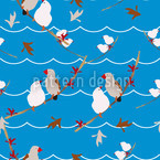 Lovebirds Blue Seamless Vector Pattern Design