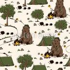 Camping Bär Nahtloses Vektormuster
