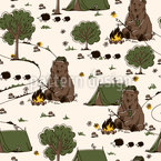 Camping Bear Repeating Pattern