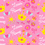 Little Princess with the crown Seamless Vector Pattern Design