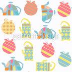 Teekannen und Äpfel Nahtloses Vektormuster