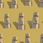 Rostos da Ilha de Páscoa Design de padrão vetorial sem costura