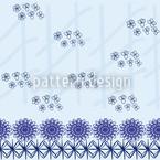Geordnete Blumen Blau Musterdesign