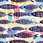 Formas de peixe Design de padrão vetorial sem costura
