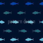 Ozeanischer Thunfisch Nahtloses Vektor Muster